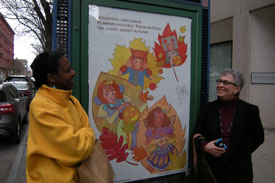 Poet Audia Denton and Friend with Fall Leaves Poster.