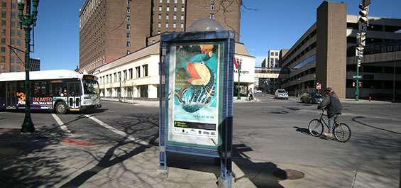 Poster kiosk at South Salina and West Onondaga streets.