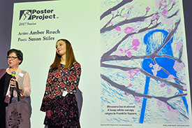Poet Susan Stiles and artist Amber Roach at the Syracuse Poster Project 2017 Unveiling.