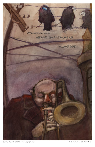Syracuse Art Poster: Armory Square trombonist and crows
