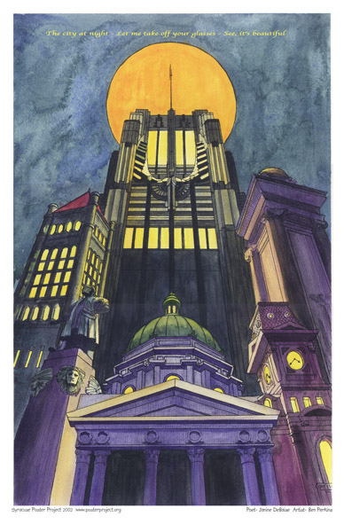 Syracuse Art Poster: Syracuse cityscape at night