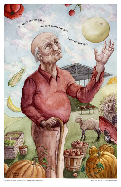 Syracuse Art Poster: Old man at farmers market