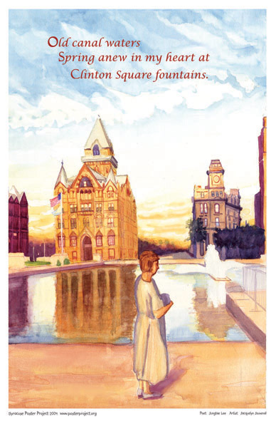 Syracuse Art Poster: Clinton Square Fountains and historic buildings