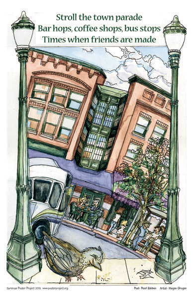 Syracuse Art Poster: Shopping in Armory Square