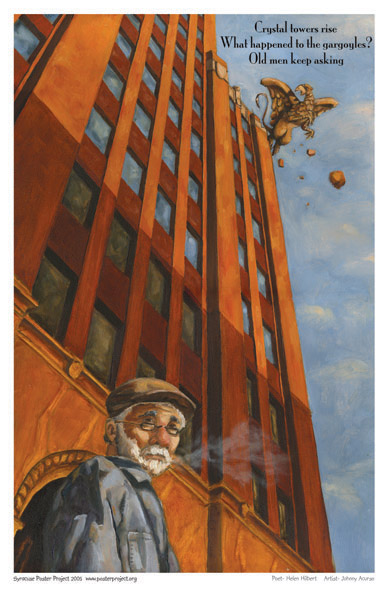 Syracuse Art Poster: Hills Building gargoyle in Syracuse