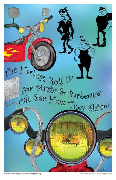 Syracuse Art Poster: Motorcycles and barbecue in Syracuse