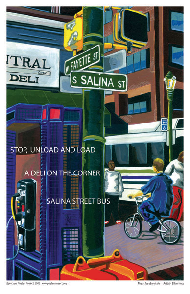 Syracuse Art Poster: Downtown Syracuse bus stop