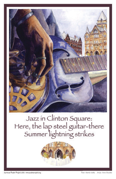 Syracuse Art Poster: Jazz guitarist in Clinton Square