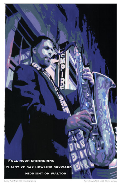 Syracuse Art Poster: Sax player in Syracuse