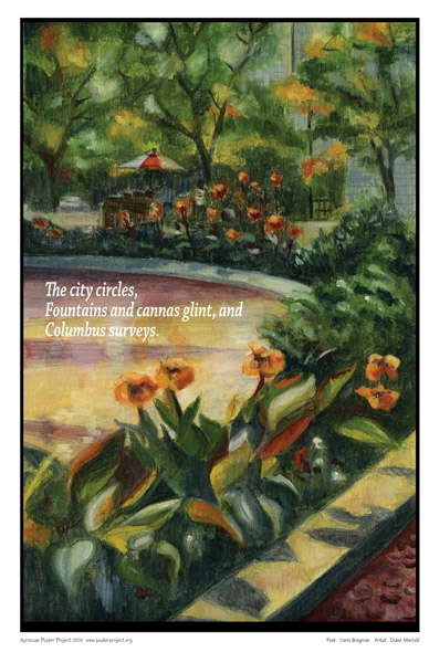 Syracuse Art Poster: Colombus circle fountain in Syracuse