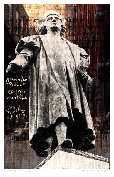 Syracuse Art Poster: Columbus Circle statue in Syracuse