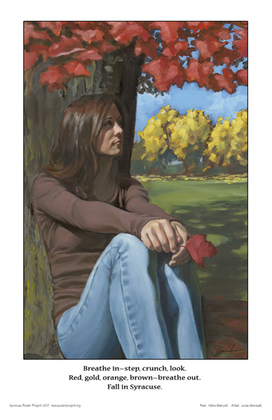 Syracuse Art Poster: Syracuse woman with autumn leaves