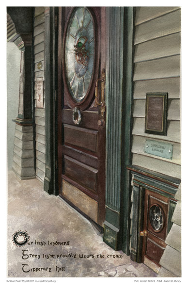 Syracuse Art Poster: Colemans Pub and leprechaun door