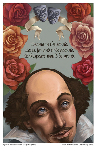 Syracuse Art Poster: Shakespeare and rose garden