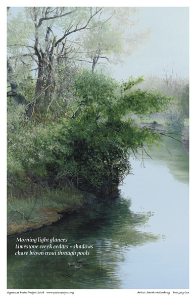 Syracuse Art Poster: Limestone Creek and trout