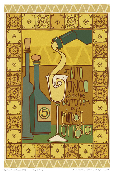 Syracuse Art Poster: Alto Cinco and wine