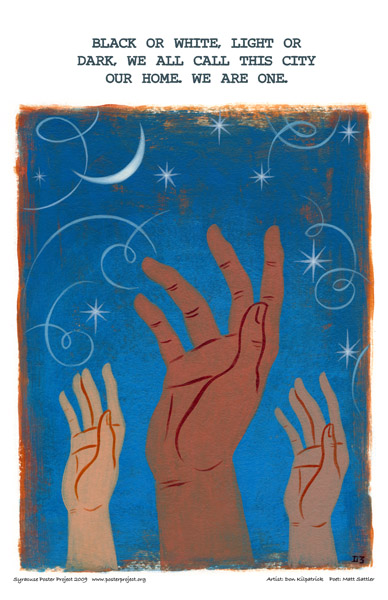 Syracuse Art Poster: Hands reaching for equality