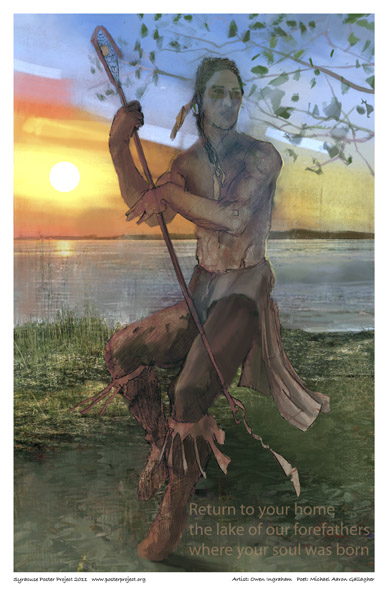 Syracuse Art Poster: Native American playing lacrosse at Onondaga Lake