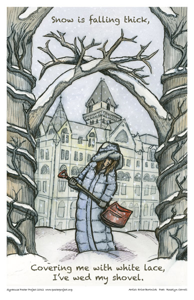 Syracuse Art Poster: Syracuse Savings Bank with woman shoveling snow