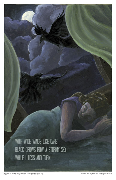 Syracuse Art Poster: Woman dreaming of crows