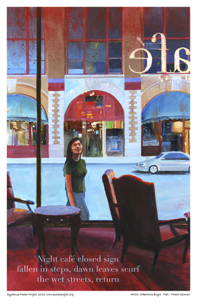 Syracuse Art Poster: Cafe view of Clinton Street in Syracuse