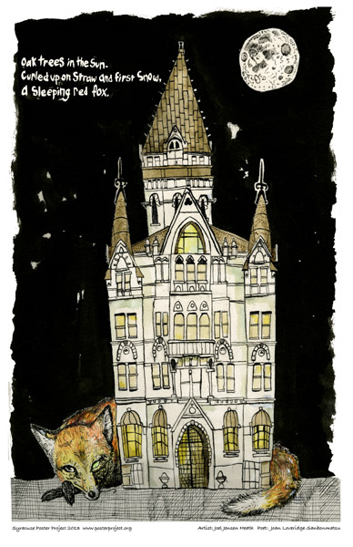 Syracuse Art Poster: Historic Syracuse Savings Bank with moon and fox