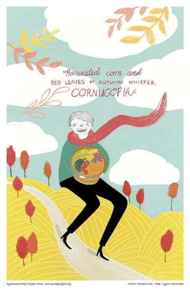 Syracuse Art Poster: Man holding cornucopia from fall harvest