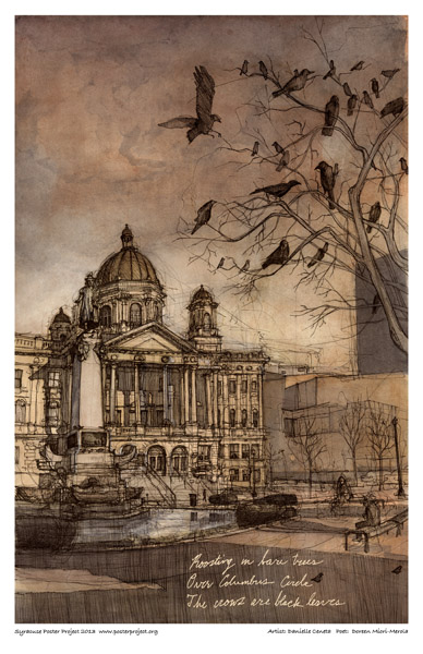 Syracuse Art Poster:  Columbus Circle in Syracuse with crows in trees