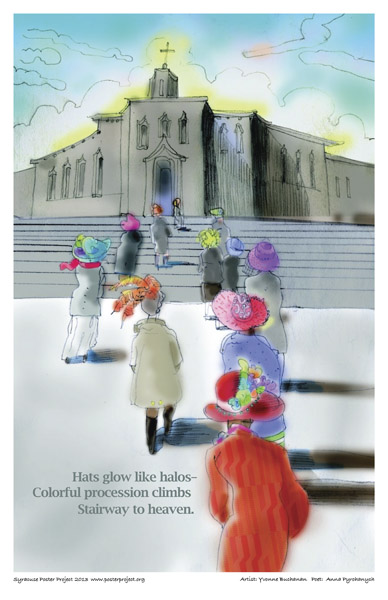 Syracuse Art Poster: Women going to church in fancy hats