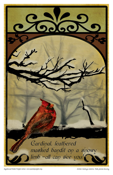 Syracuse Art Poster: Cardinal in winter