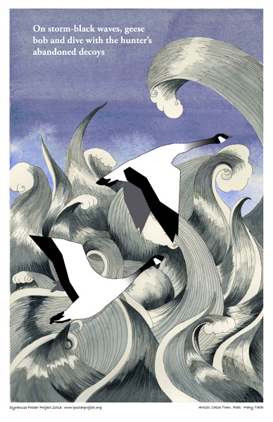 Syracuse Art Poster: Geese flying over stormy lake