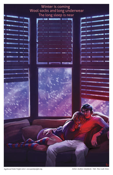 Syracuse Art Poster: Couple snuggling in winter