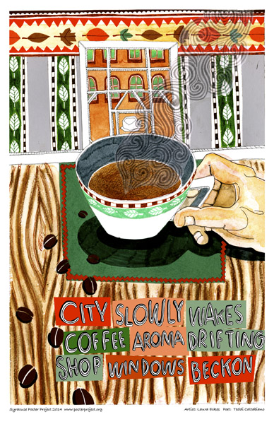 Syracuse Art Poster: Coffee cup and decorative patterns