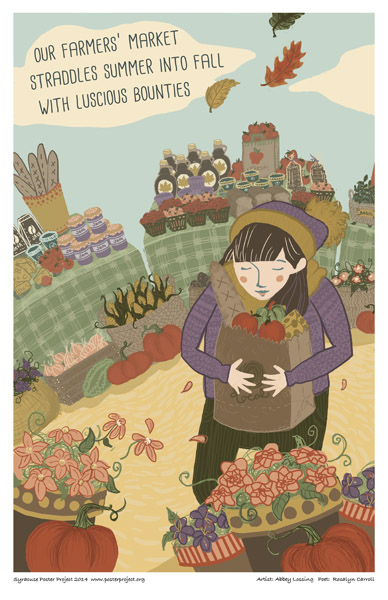 Syracuse Art Poster: Woman shopping at farmers market