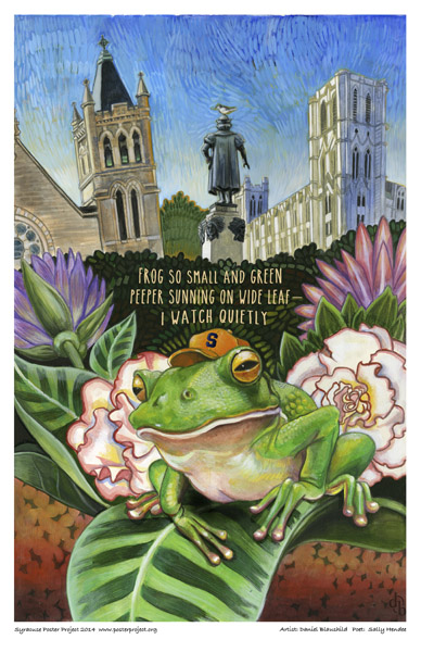 Syracuse Art Poster: Columbus Circle in Syracuse with frog and flowers