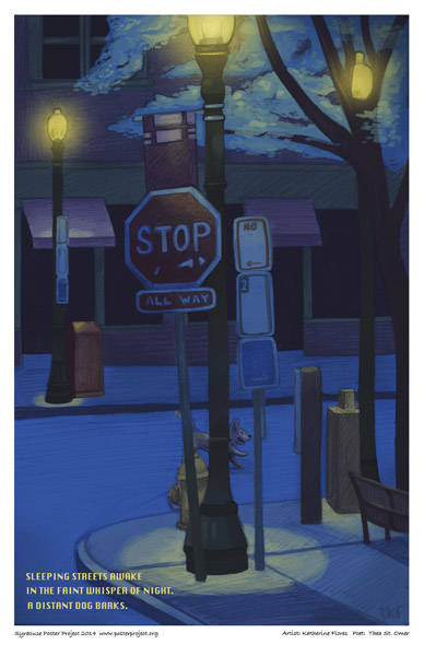 Syracuse Art Poster:  Armory Square at night with lone dog