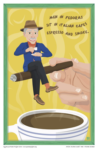 Syracuse Art Poster: Little Italy cafe patron with espresso and cigar