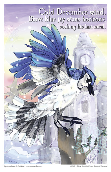 Syracuse Art Poster: Winter blue jay on Syracuse University campus