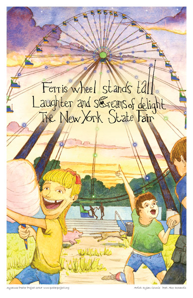 Syracuse Art Poster: Kids at New York State Fair with Ferris wheel