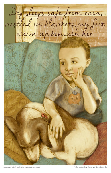 Syracuse Art Poster:  Boy relaxing on a couch with dog