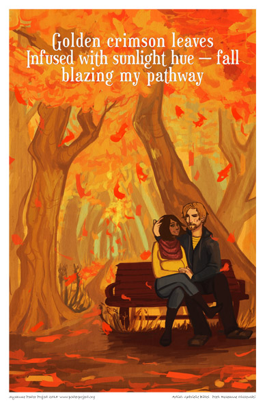 Syracuse Art Poster: Autumn trees with couple on bench