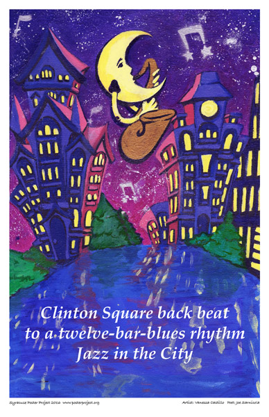 Syracuse Art Poster : Clinton Square, Lights, Music, and Night Sky