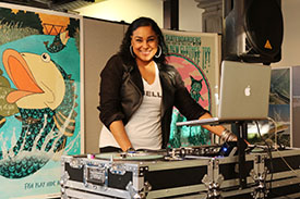 Jasmine Coan, DJ Bella at the Syracuse Poster Project 2017 Unveiling.