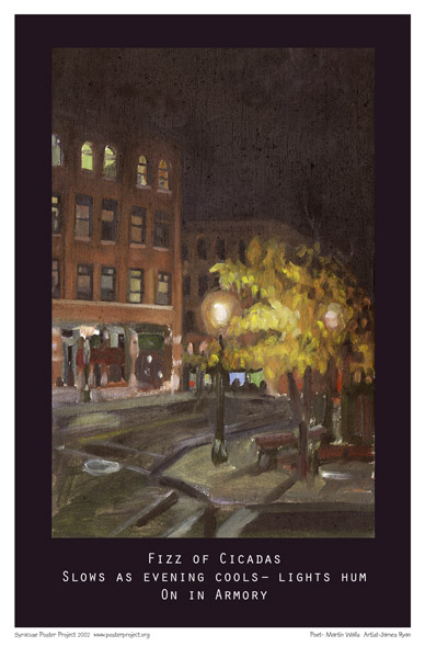 Syracuse Art Poster: Armory Square at night