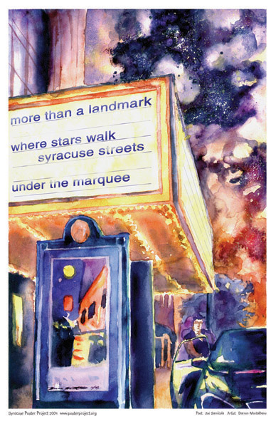 Syracuse Art Poster: Landmark Theater marquee and walk of stars