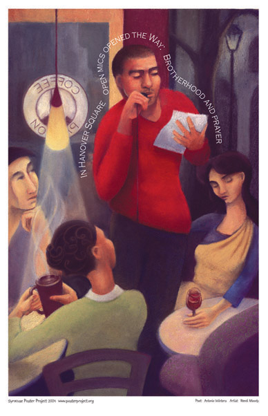 Syracuse Art Poster: Illustration of poetry reading