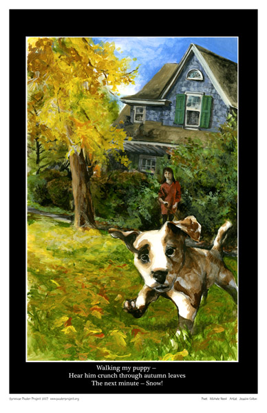 Syracuse Art Poster: Painting of puppies in autumn