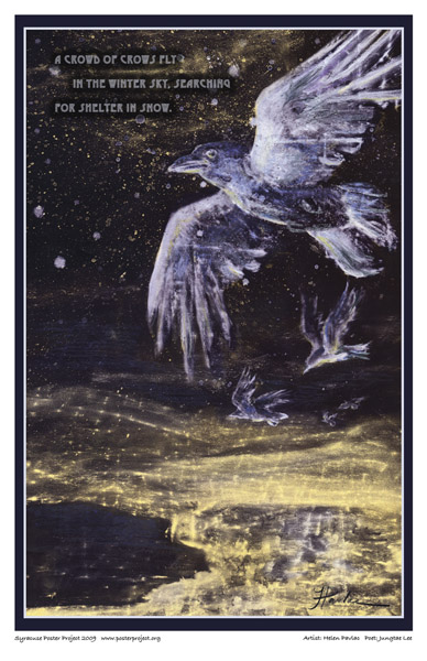 Syracuse Art Poster: Crows in snowstorm