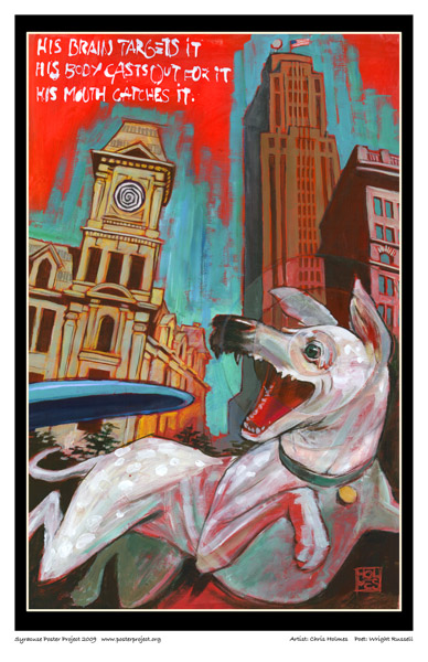 Syracuse Art Poster: Dog catching Frisbee