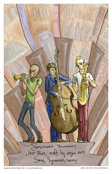 Syracuse Art Poster: Jazz and blues musicians in Syracuse